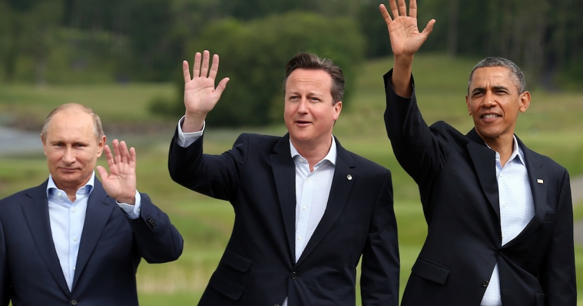 Vladimir Putin, David Cameron, and Barack Obama in happier times.</p>