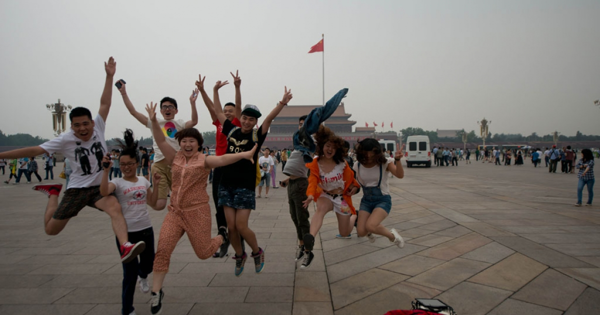 Tourists in Tiananmen square in Beijing, June 4, 2013.</p>