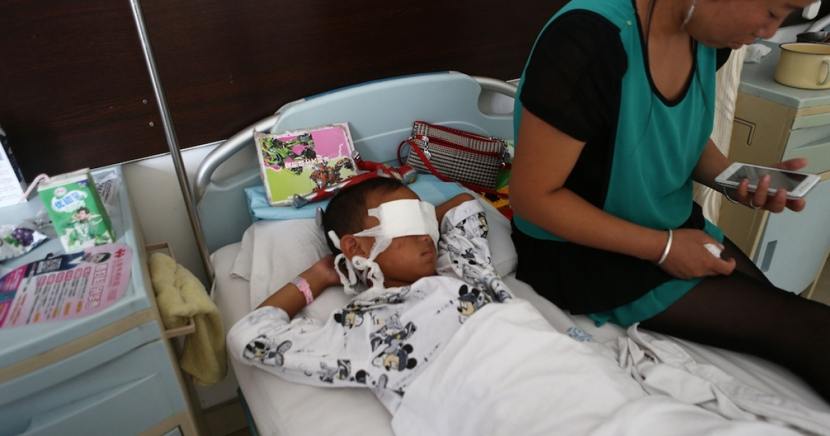 The boy surnamed Guo is being treated in an eye hospital in Taiyuan, in the northern province of Shanxi, following Saturday's brutal attack.</p>