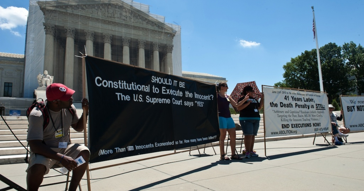 The 20th annual Starvin' for Justice fast and vigil against the death penalty in front of the US Supreme Court in Washington on June 29, 2013.</p>