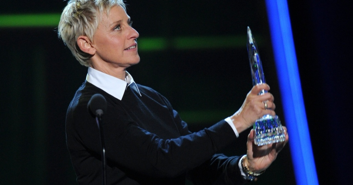 Ellen DeGeneres onstage at the 39th Annual People's Choice Awards in Los Angeles on January 9, 2013.</p>