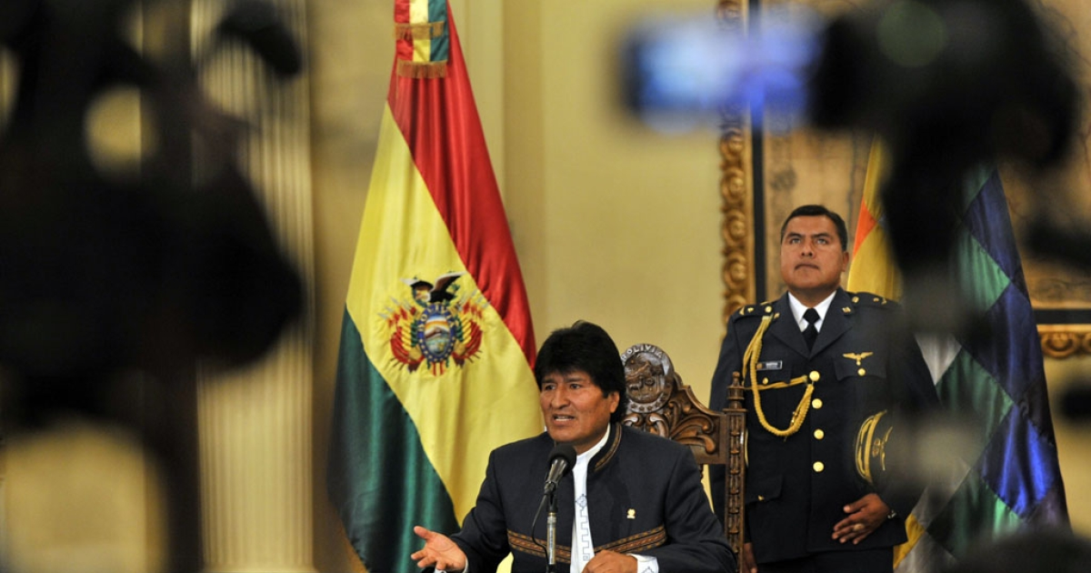 Bolivian President Evo Morales speaks to reporters in La Paz on Aug. 28, 2013, about Sen. Roger Pinto and said that now he is a fugitive of the Bolivian justice.</p>