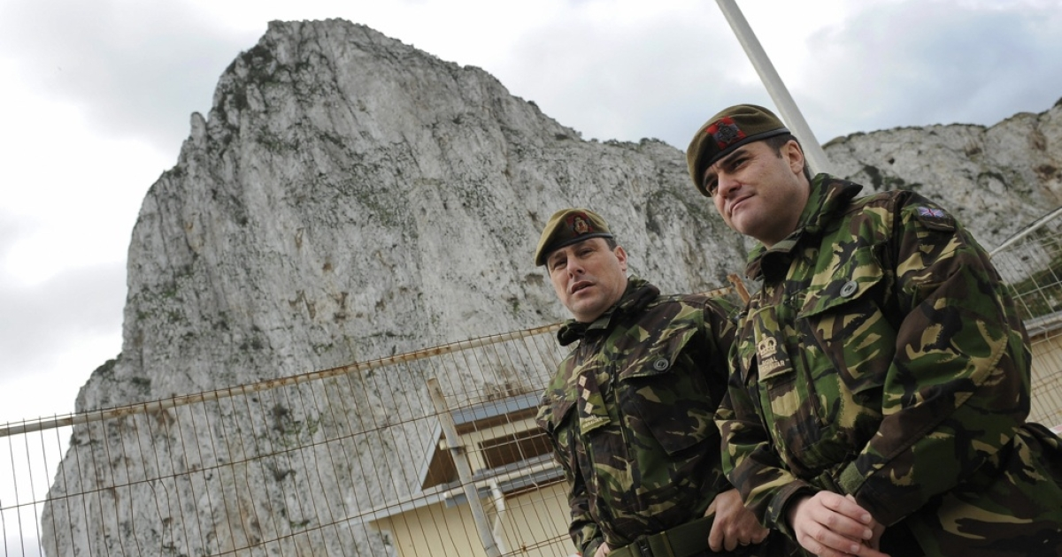 British Royal Navy soldiers stand on guard during Britain's Princess Anne's visit to Gibraltar on March 5, 2009.</p>