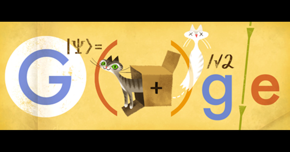 Monday's Google Doodle paying tribute to Erwin Schrodinger's famous thought experiment.</p>