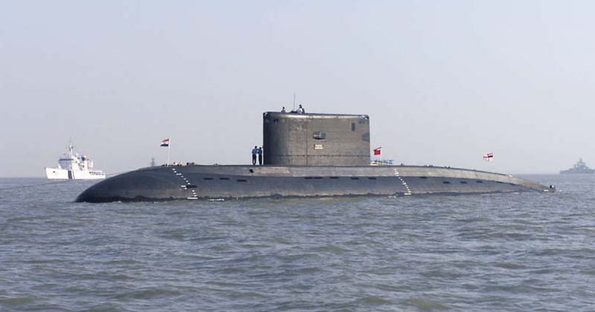 The Indian Navy submarine INS Sindhurakshak (S 63) at anchorage off the port city of Mumbai, India</p>