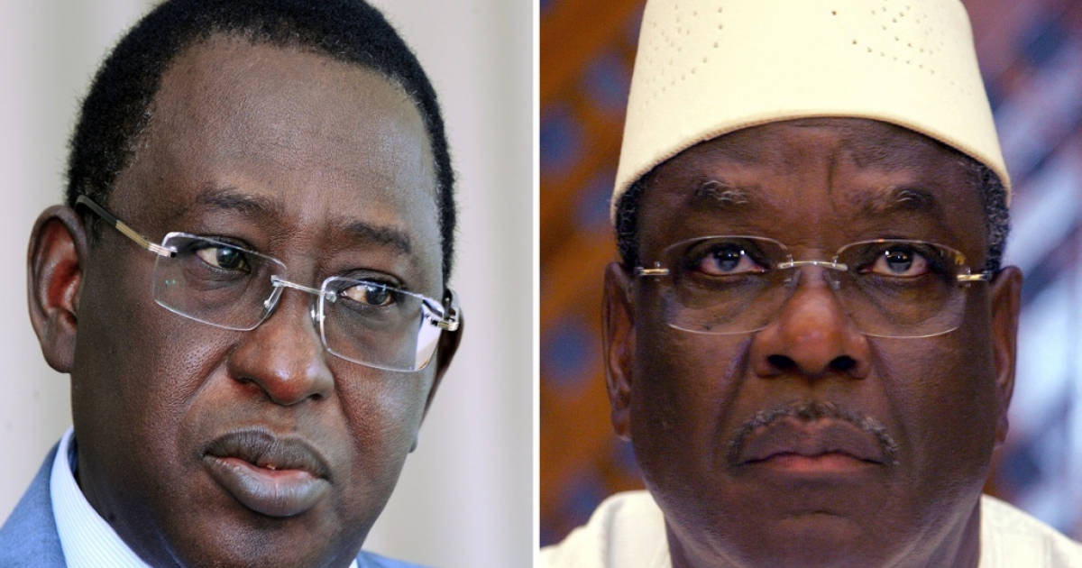 The two frontrunners in Mali's presidential election: Soumaila Cisse (L) and Ibrahim Boubacar Keita, a.k.a. IBK (R). With no candidate getting a majority in the landmark poll on July 28, Mali's presidential election will go to a second round of voting on Aug. 11.</p>