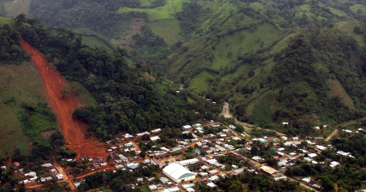 A landslide in Amatan town, Chiapas state, Mexico, on Sept. 29, 2010.</p>