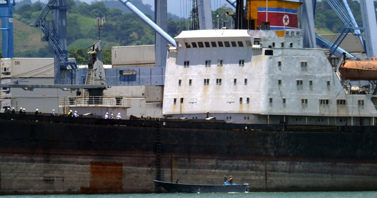 View of the North Korean vessel Chong Chon Gang at Manzanillo harbour in Colon, 90 km from Panama City, on Aug. 14, 2013.</p>