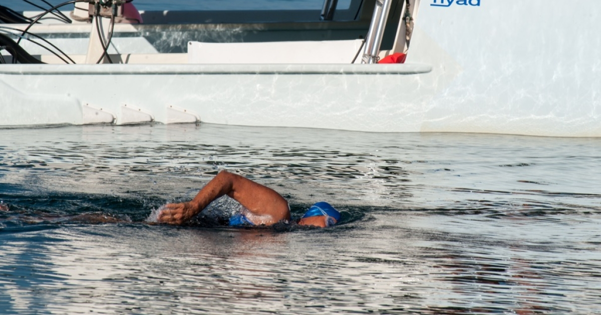US swimmer Diana Nyad begins her attempt to swim in a three-day non-stop journey from Havana to Florida on Aug. 31, 2013.</p>