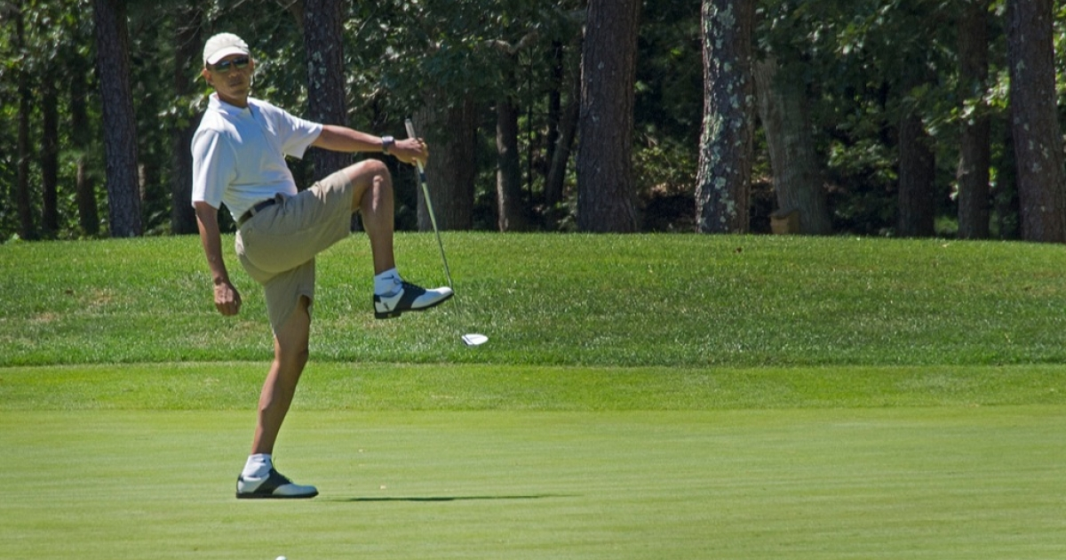US President Barack Obama reacts to a missed putt on the first green at Farm Neck Golf Club in Oak Bluffs, Massachusetts, August 11, 2013 during the Obama family vacation to Martha's Vineyard. In a military crackdown days later, Egypt would see hundreds of casualties.</p>