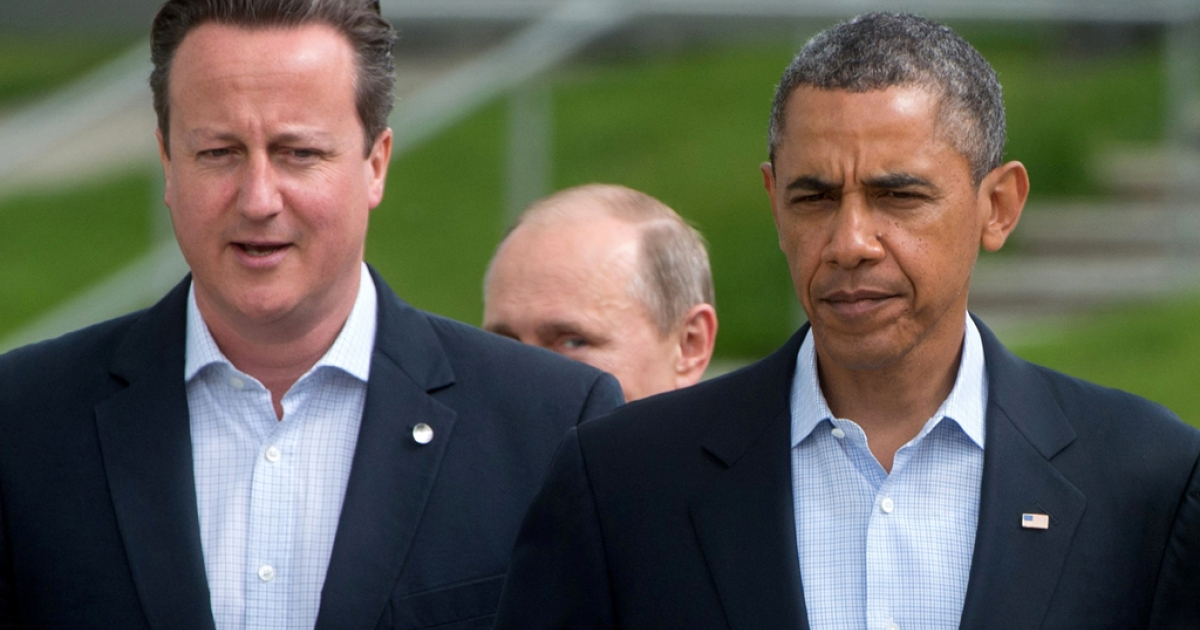 Britain's Prime Minister David Cameron (L) Russia's President Vladimir Putin (C partially obscured) and US President Barack Obama in Northern Ireland in June 2013. Obama canceled his summit with Putin in the wake of Russia offering asylum to National Security Agency whistleblower Edward Snowden.</p>