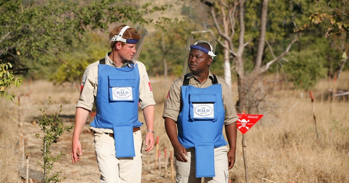 Prince Harry talks to a de-miner from the HALO Trust in Cahora Bassa, Mozambique, on June 21, 2010.</p>