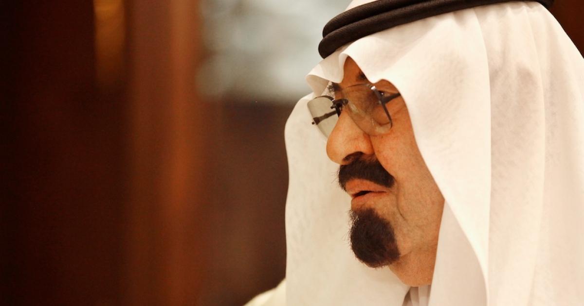 Saudi Arabia's King Abdullah at the king's Riyadh Palace April 6, 2011 in Riyadh, Saudi Arabia.</p>