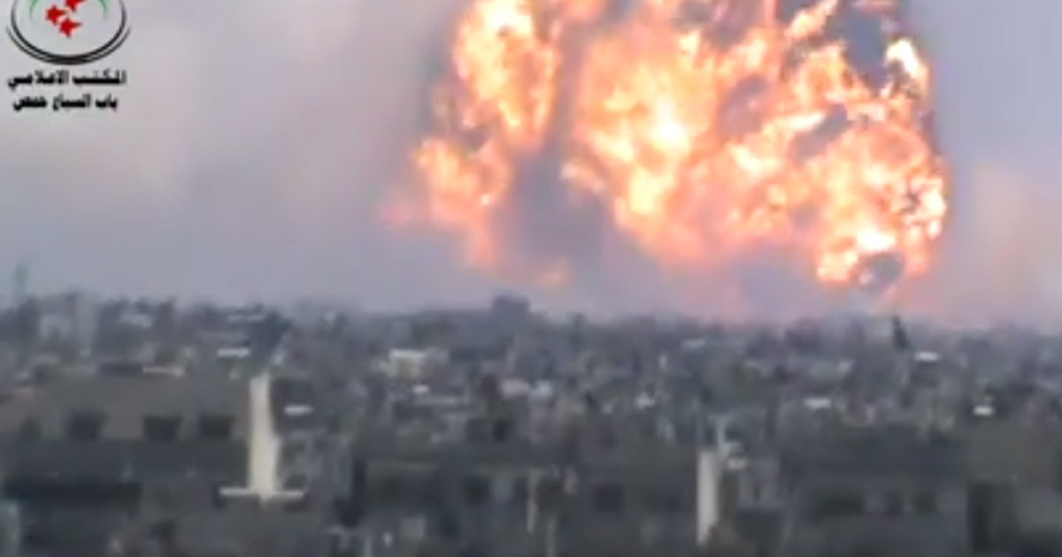 A massive fireball billowed into the sky in the Syrian city of Homs in a video posted by opposition activists on August 1, 2013.</p>