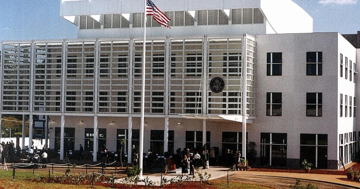 The American embassy in Nairobi, Kenya, taken in June, 2004.</p>