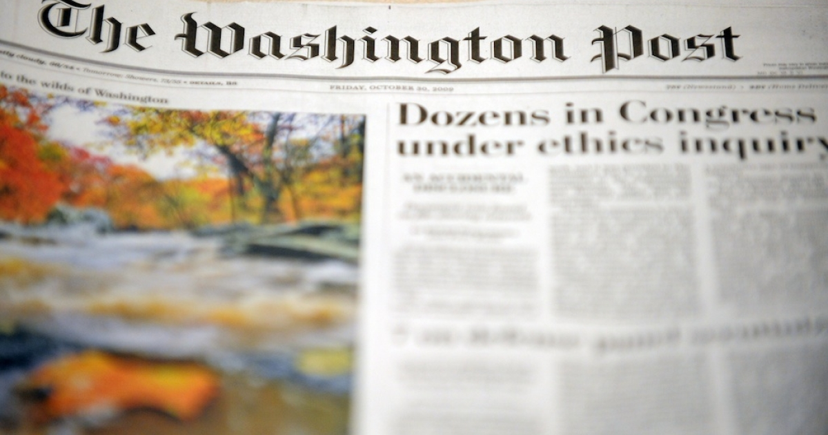 View of the front page of The Washington Post on October 30, 2009.</p>