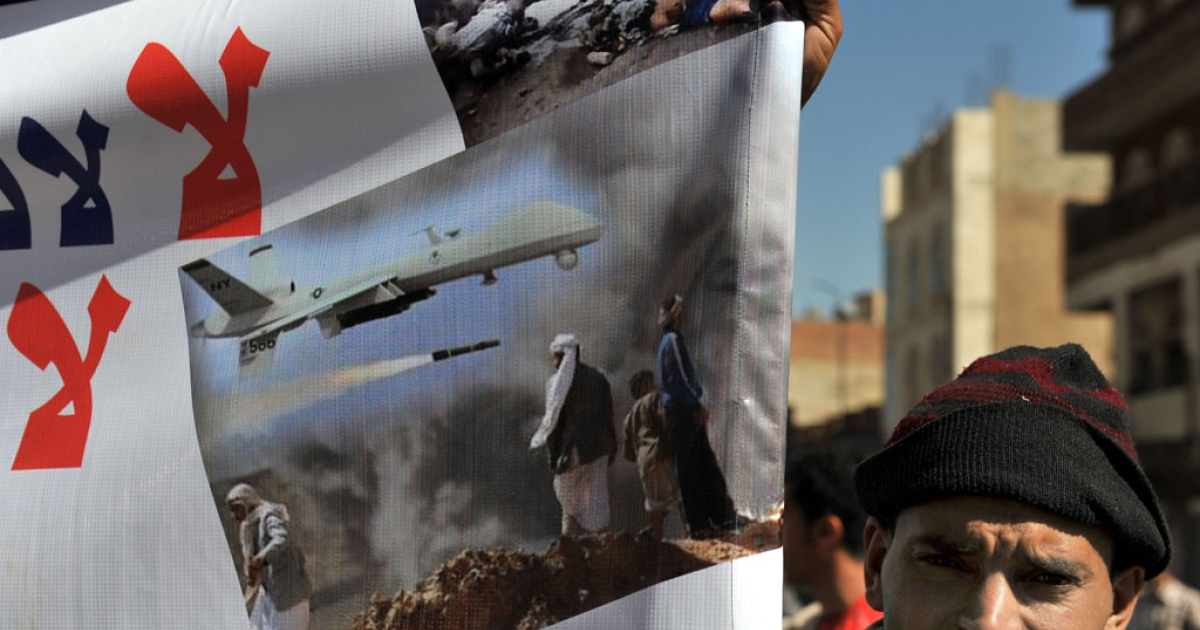 A Yemeni protests US drone attacks in the capital Sanaa, on Jan. 28, 2013.</p>