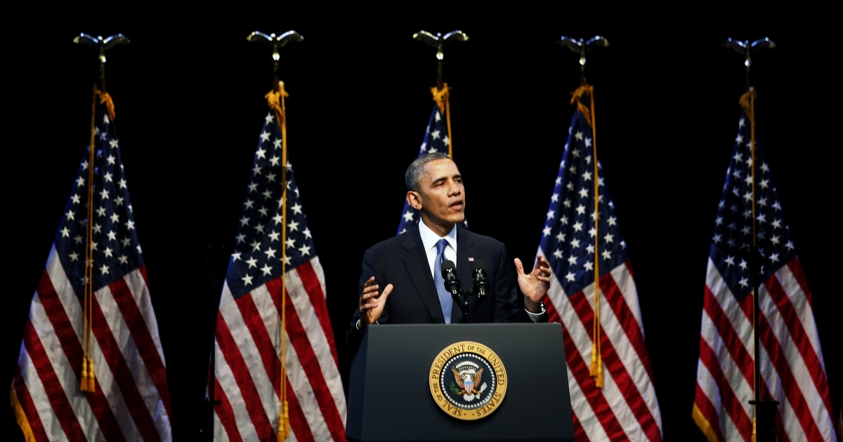 US President Barack Obama speaks on economic themes at the Center for American Progress December 4, 2013 in Washington, DC. Obama spoke at the think tank about economic inequality and a lack of upward mobility.</p>