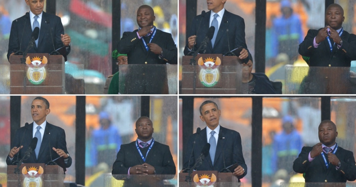 In these combination pictures taken on Dec. 10, 2013, US President Barack Obama delivers a speech next to a sign language interpreter during the memorial service for late South African President Nelson Mandela. South Africa's deaf community accused the interpreter of being a fake who had merely flapped his arms around during speeches.</p>