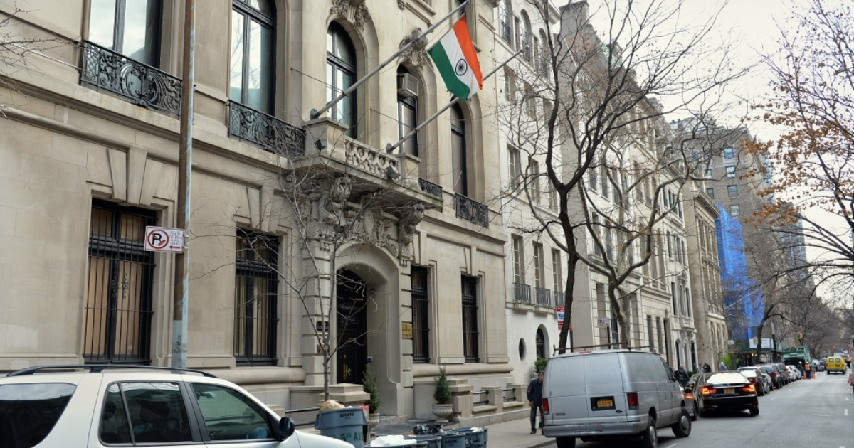 The Consulate General of India building on East 64th Street in New York. Devyani Khobragade, 39, currently employed as deputy consul general for political, economic, commercial and women's affairs at the Consulate, has been charged with visa fraud and making false statements over allegedly underpaying and overworking an Indian babysitter and housekeeper at her New York home.</p>