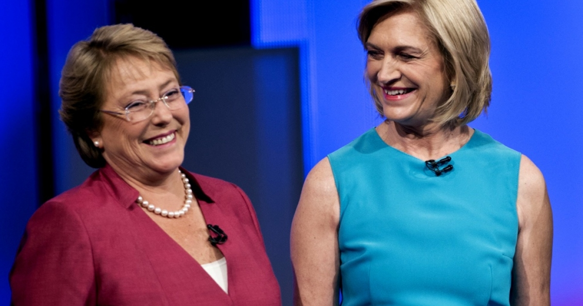 Chilean presidential candidates Michelle Bachelet, left, a moderate socialist, and conservative Evelyn Matthei.</p>