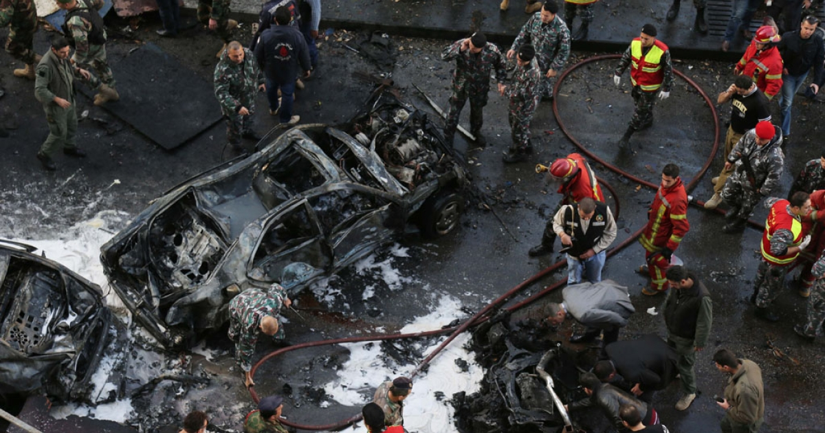 The scene of a huge car bomb explosion that rocked central Beirut on Dec. 27, 2013.</p>