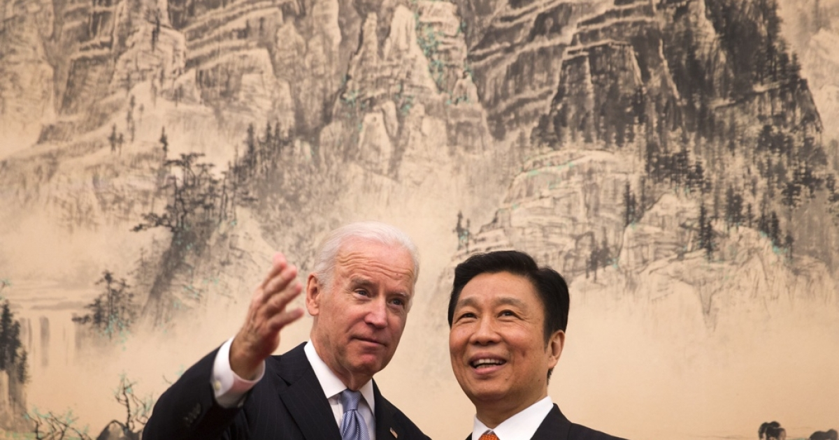 Vice President Joe Biden with his Chinese counterpart Li Yuanchao.</p>