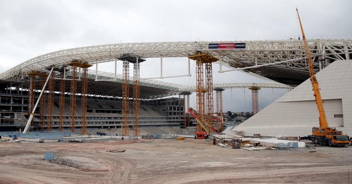 Brazil's Arena de Sao Paulo in construction, as of Nov. 30.</p>
