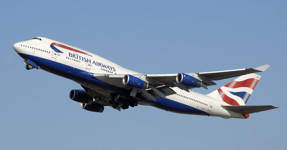 British Airways Boeing 747-400 (G-BNLE) takes off from London Heathrow Airport, England.</p>