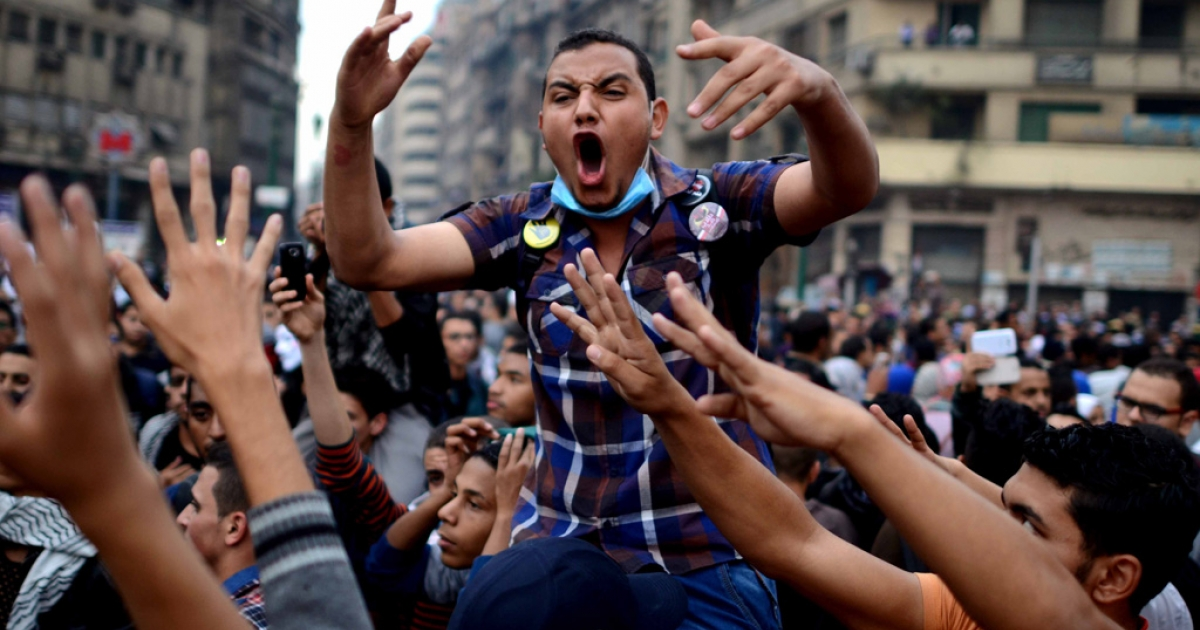 Cairo University's students backing ousted president Mohamed Morsi protest July's military