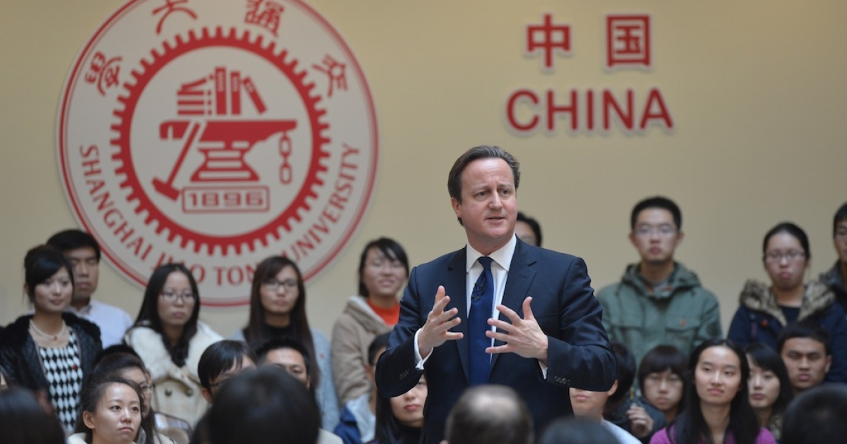 British Prime Minister David Cameron speaks to students at Shanghai Jiaotong University on December 3, 2013 in Shanghai, China. David Cameron is on a three-day visit to China.</p>