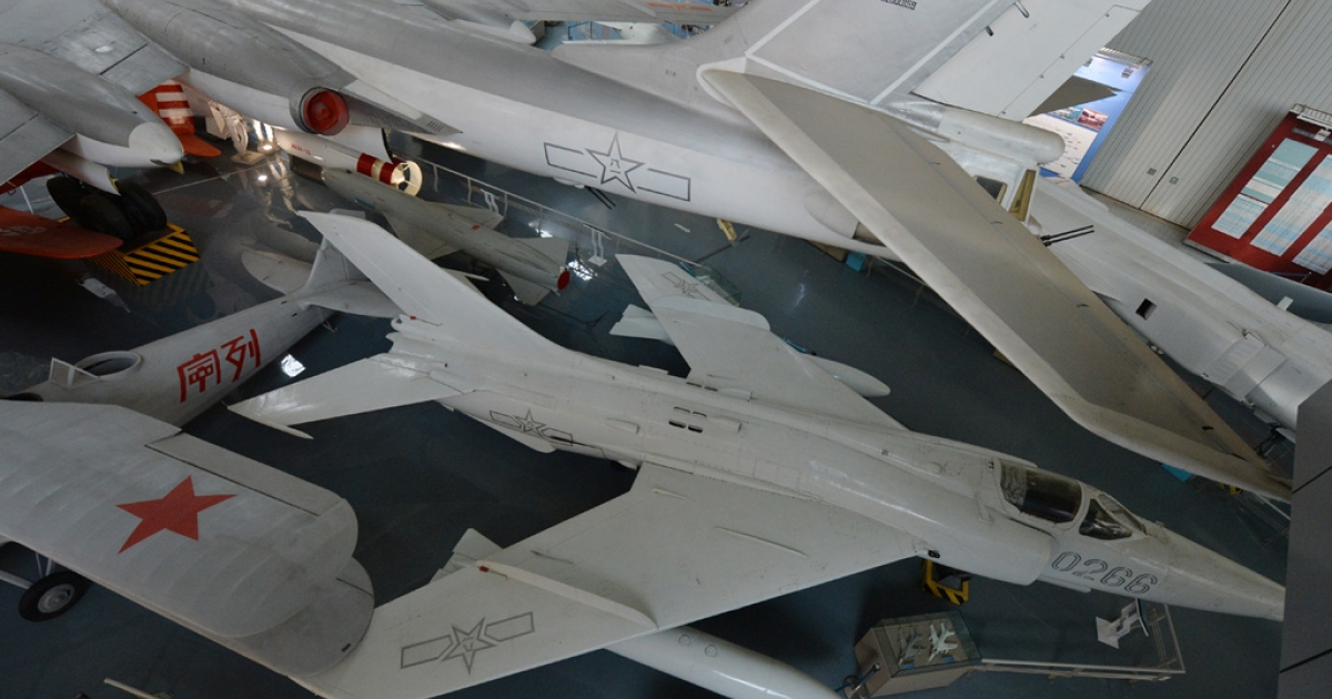 Chinese-made military jets at the People's Liberation Army Aviation Museum in Beijing on Dec. 4, 2013.</p>