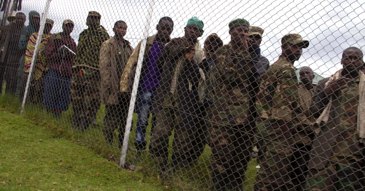 Some of the Democratic Republic of Congo's M23 rebels who surrendered to the Ugandan army.</p>