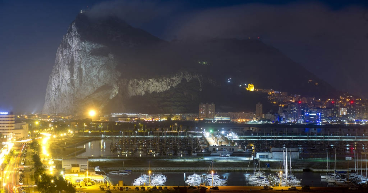 Rock of Gibraltar in a long-exposure photograph, Aug. 19, 2013.</p>