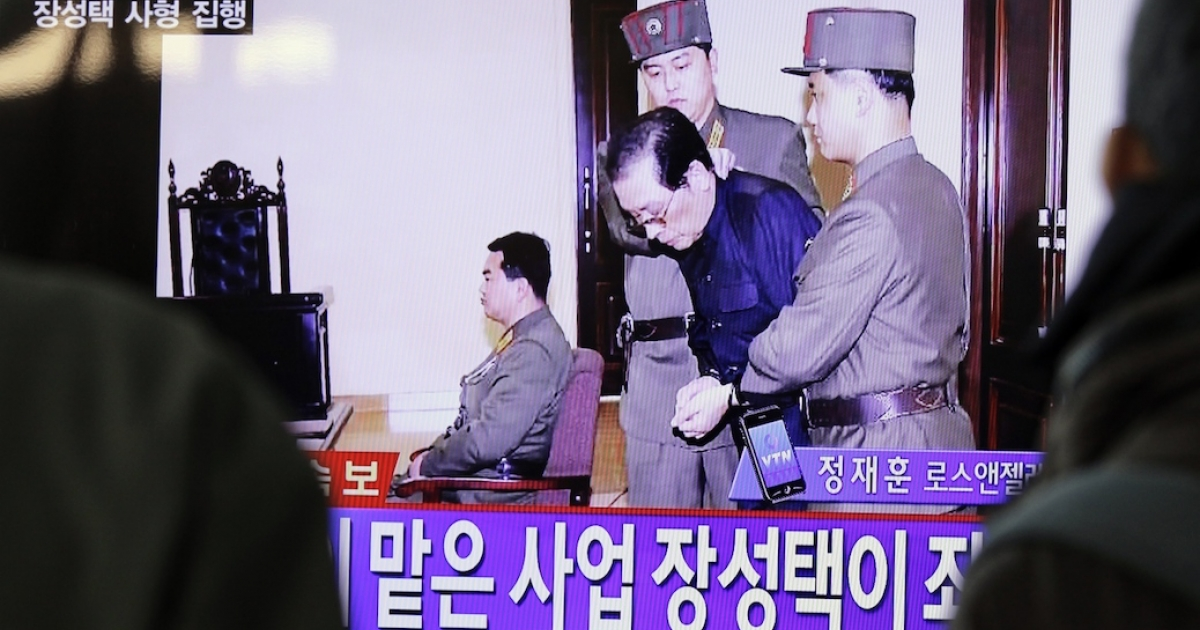 A television screenshot of Jang Song Taek in court before his execution on December 12, 2013. Amid theories that a sordid affair or porn video was to blame, credible evidence has emerged that Jang had been seeking to overthrow the government since the mid-1990s.</p>