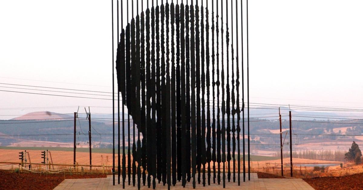 A sculpture of Nelson Mandela.</p>