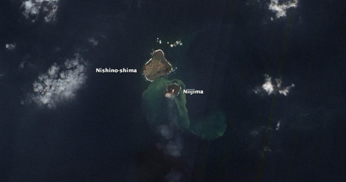 An overhead picture of Niijima, the world's newest island, which was formed south of Tokyo this year as a result of an underwater volcano.</p>