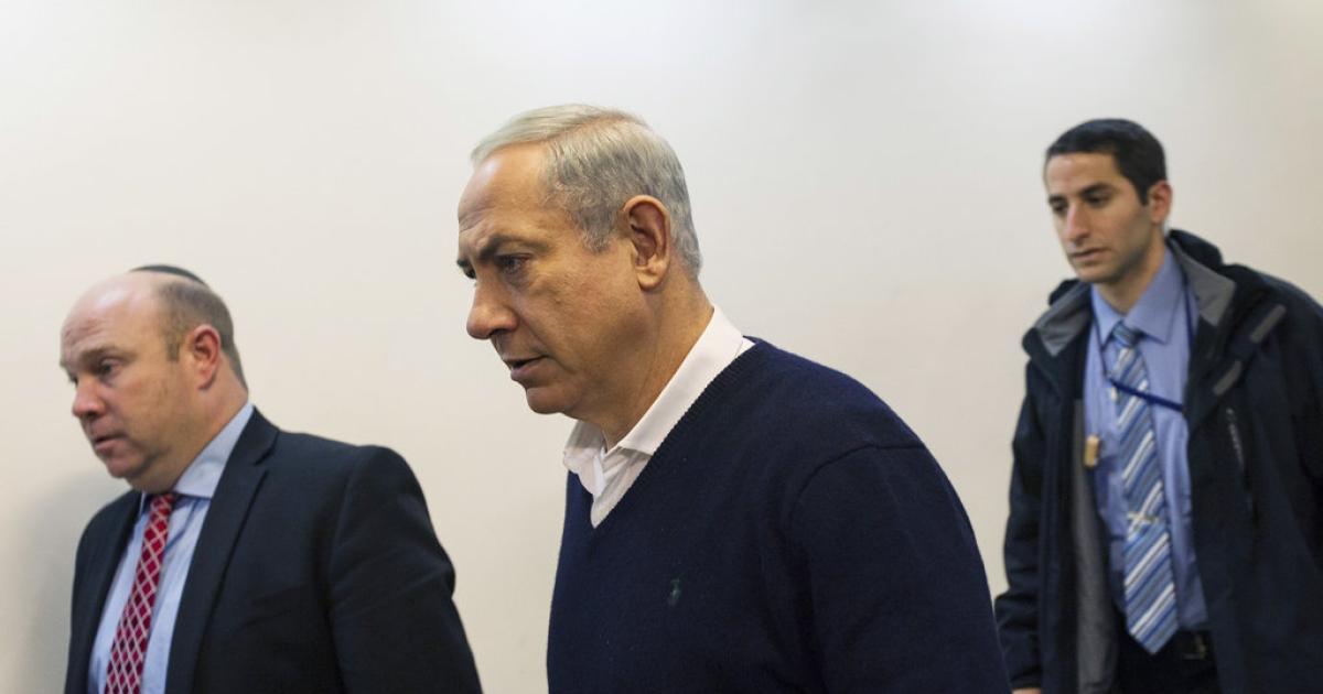 Israel's Prime Minister Benjamin Netanyahu attends the weekly cabinet meeting in Jerusalem December 15, 2013.</p>