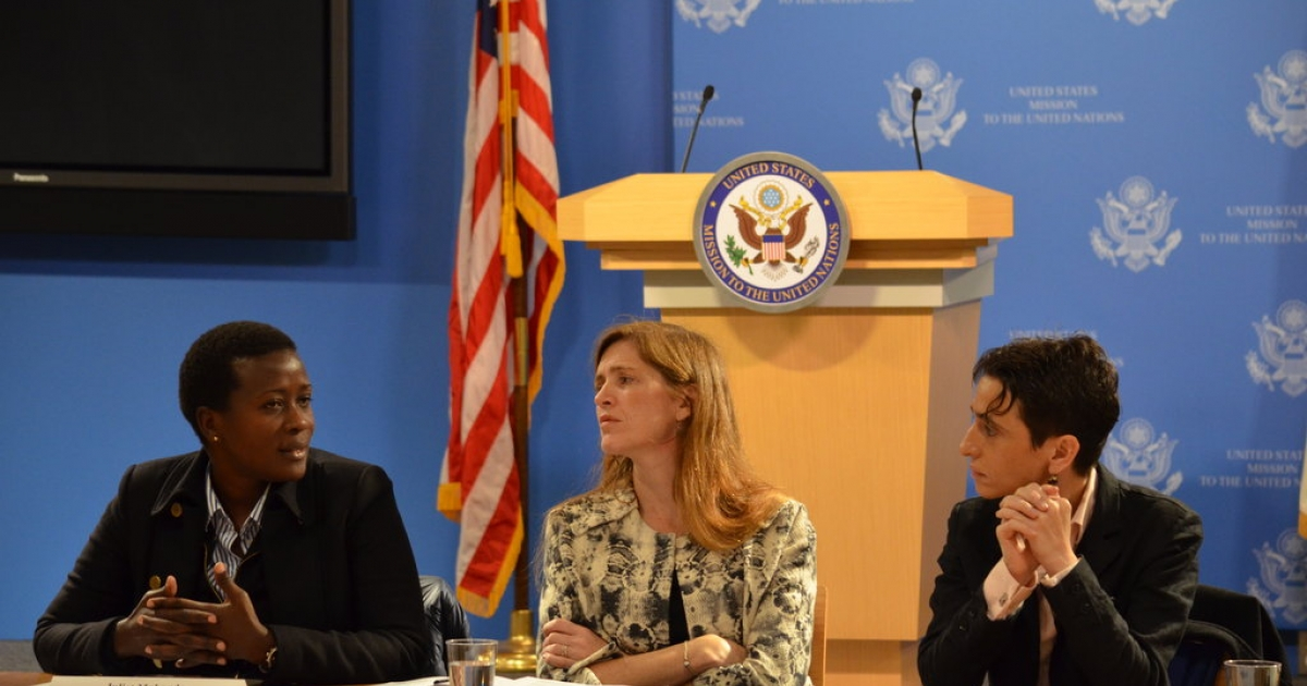 Gay rights activist Juliet Mphande of Zambia( L), US Ambassador Samantha Power (C) and Russian journalist Masha Gessen (R) at the United Nations in New York City in December 2013.</p>