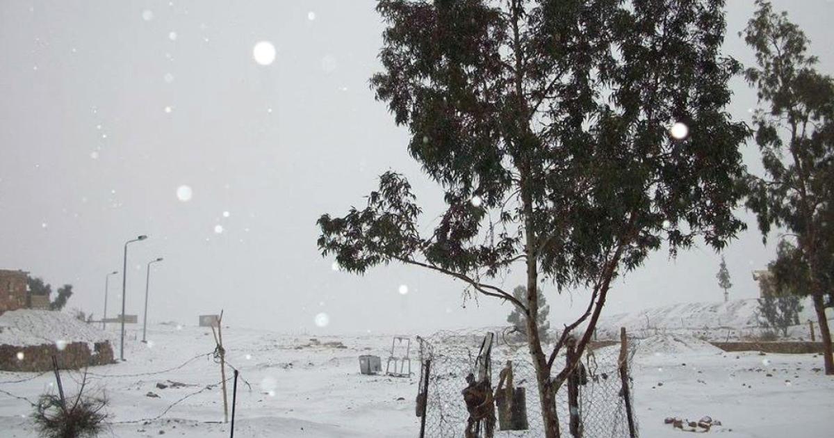 Snow covers Egypt's Sinai Peninsula.</p>