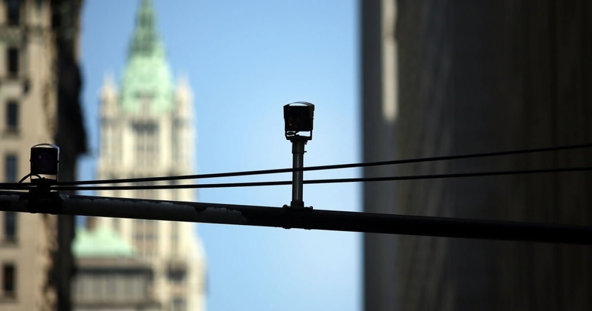 A surveillance camera in New York.</p>