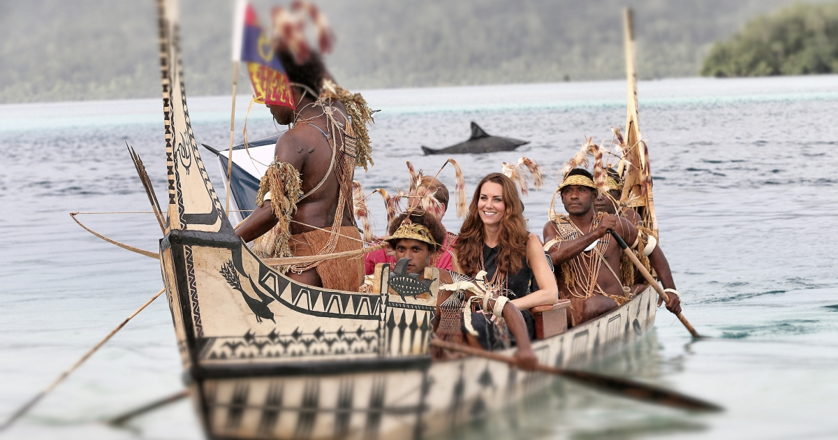 Catherine, Duchess of Cambridge and Prince William, Duke of Cambridge travel in a traditional canoe during a visit to Tuvanipupu Island on their Diamond Jubilee tour of the Far East on September 17, 2012 in Honiara, Guadalcanal Island in the Solomon Islands.</p>