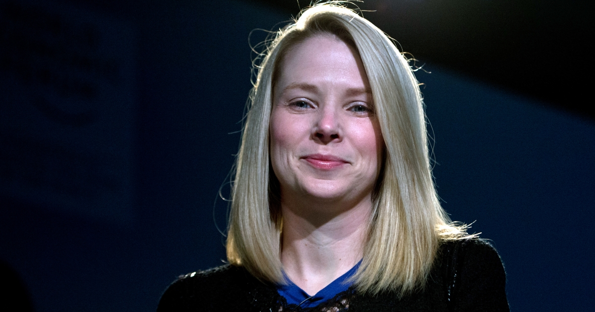 Marissa Mayer, CEO of Yahoo!, attends a session of the World Economic Forum 2013 Annual Meeting on January 25, 2013 at the Swiss resort of Davos.</p>