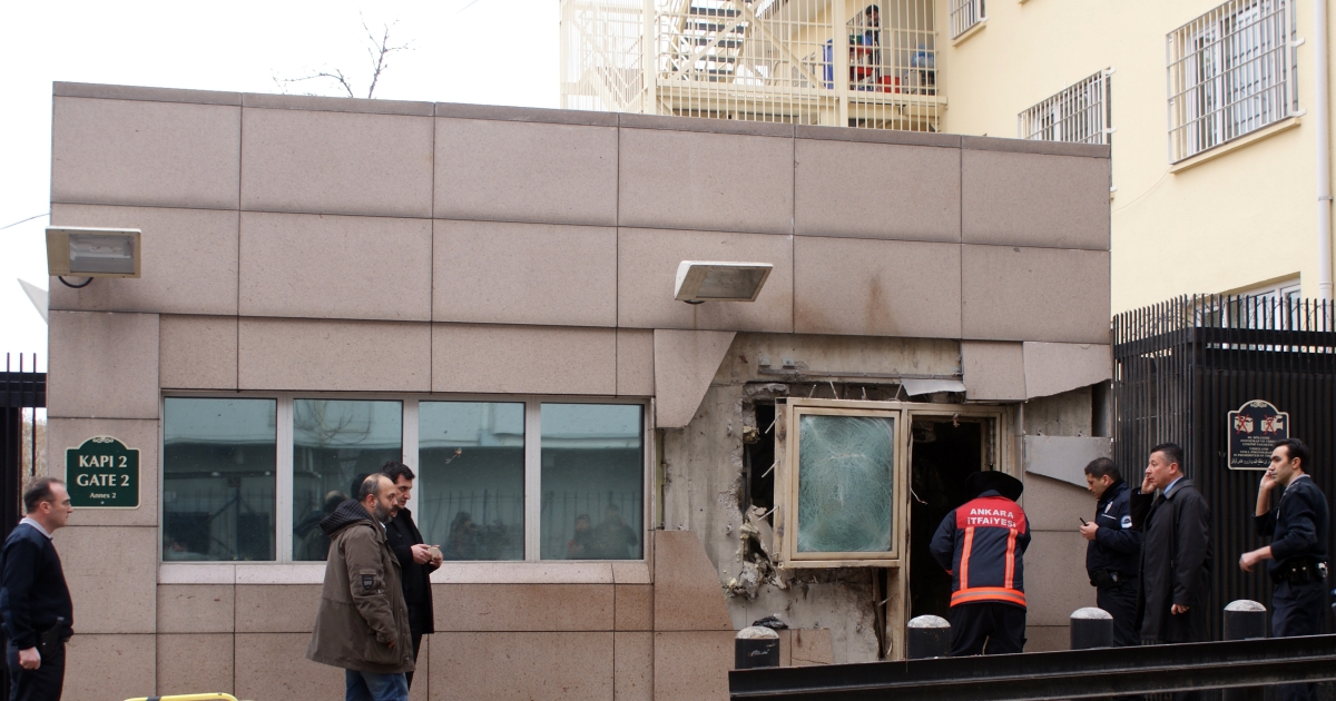 A suicide bomb attack outside the gate of the US Embassy in Ankara has killed two on Feb. 1, 2013.</p>