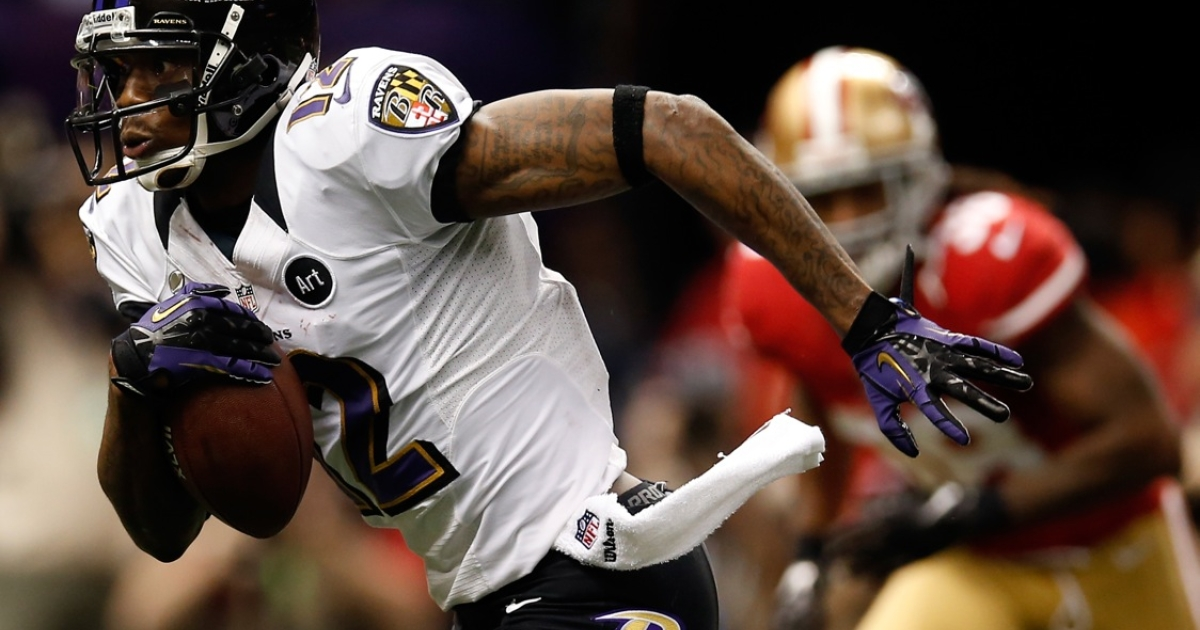 Jacoby Jones #12 of the Baltimore Ravens scored a 108-yard touchdown, a new Super Bowl record.</p>