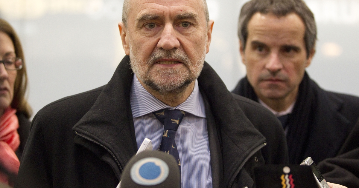The IAEA (International Atomic Energy Agency) Deputy Director General and Head of the Department of Safeguards Herman Nackaerts arrives after a trip with his team to Iran on February 14, 2013. Talks between the IAEA and Iran were said to have failed to reach an agreement.</p>