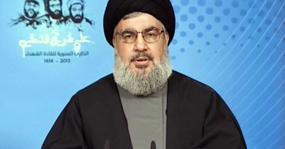 Hezbollah's Hassan Nasrallah in a recent television appearance.</p>