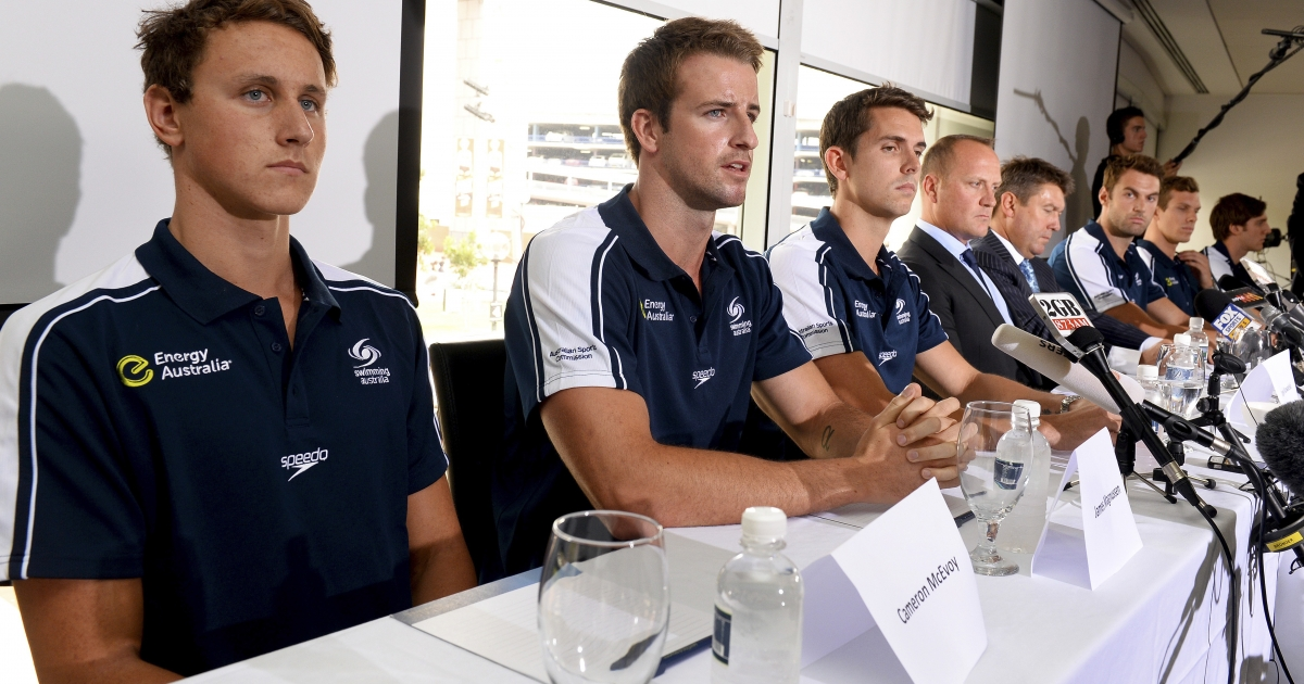 Australian swimmer James Magnussen (2nd L), Eamon Sullivan (3rd L), Cameron McEvoy (L) and members of Australia's much-hyped men's Olympic swim relay team, dubbed the 'Weapons of Mass Destruction', speak to the media after owning up to taking part in 'stupid' pre-Games pranks, in Sydney on February 22, 2013.</p>