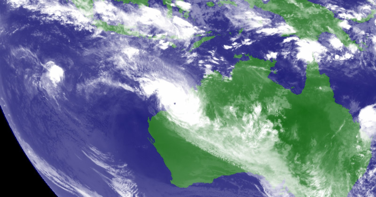 In this Handout Image provided by the Japan Meteorological Agency, Tropical Cyclone Rusty is recorded by the MTSAT Satellite nearing the Western Australian coastline, on February 27, 2013.</p>