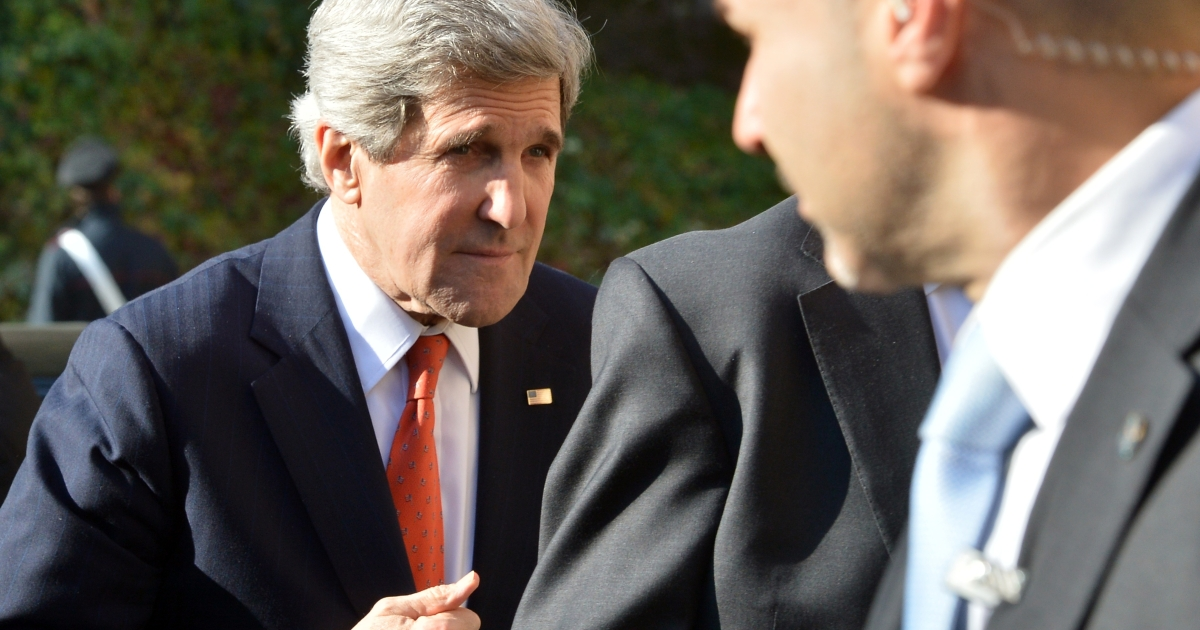 US Secretary of State John Kerry arrives for a meeting of the 'Friends of the Syrian People (FOSP) Ministerial' group on February 28, 2013 in Rome.</p>